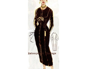 Vintage Sewing Pattern 1956 Dress PDF Plus Size (or any size)  - Pattern No 9 Jolene