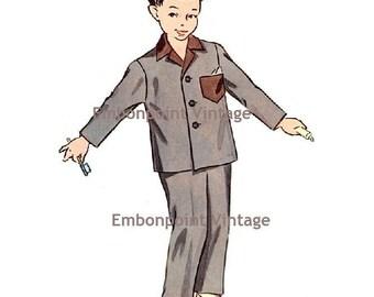 Plus Size (or any size) Vintage 1950s Boy's Pyjama Shirt Pattern - PDF - Pattern No 189a Gregory Pyjama Shirt