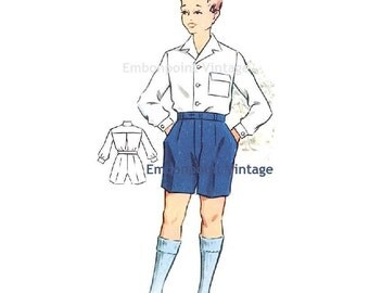 Plus Size (or any size) Vintage 1950s Boy's Shirt Pattern - PDF - Pattern No 176a Gary Shirt