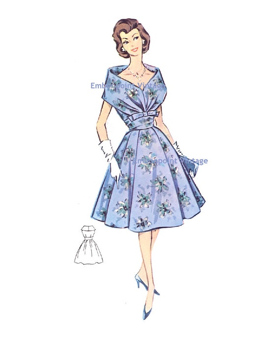 Plus Size (or any size) Vintage 1950s Womens Cocktail Dress Pattern - PDF - Pattern No 15: Kathleen