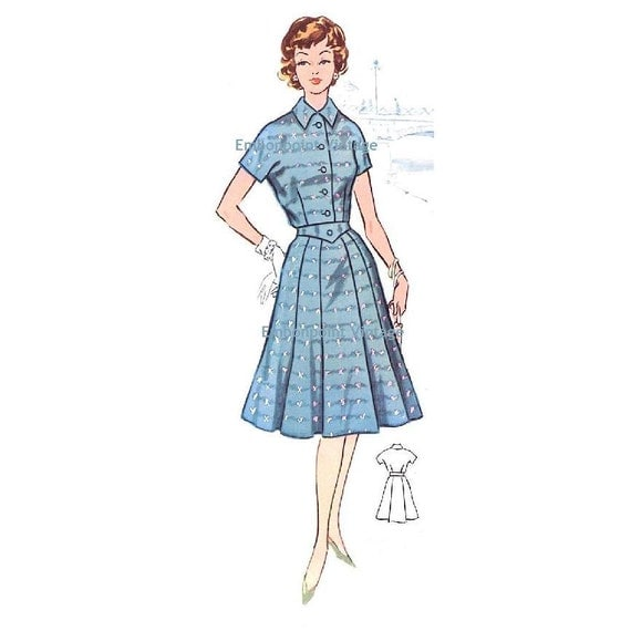 Plus Size (or any size) Vintage 1950s Dress Pattern - PDF - Pattern No 51: Martha