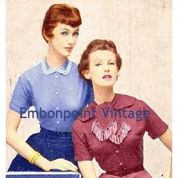 Plus Size (or any size) Vintage 1949 Blouse Sewing Pattern - PDF - Pattern No 46 47 Erma