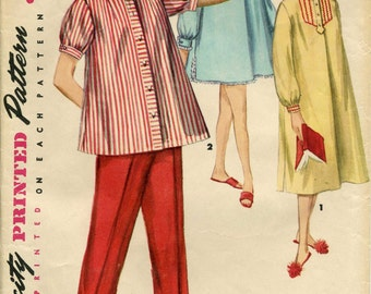Simplicity 1348, 1950's, Pajama & Nightgown Vintage, Sleep wear, Sewing Pattern