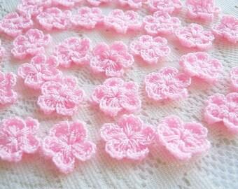 Pink Chochet flower Fabric Applique Applique Pink chochet flower , bag supply, jewelry supply 50pcs., baby shower, hair decorate