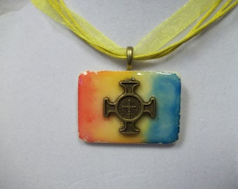 OOAK Tye Dye Crosses altered art alcohol ink dyed handcrafted Rummikub Game Piece Pendant Necklace