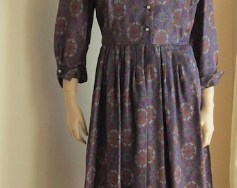 Vintage 50s dress Town and Country pleated full skirt changeable neckline Bust 42 PLUS SIZE Volupt
