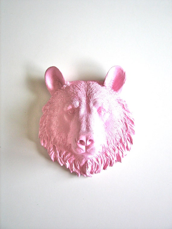 LITE PINK Faux Taxidermy Small Bear Head wall mount in light pink: Bob the Bear // nursery // kids room // office // mini // woodland