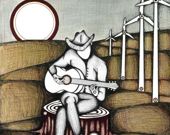 Illustration of Cowboy Playing Guitar, Drawing of Acoustic Guitar Player, Lonely Music Man Poster, Country Music Fine Art Print
