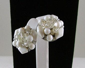 Vintage Clip On Bead Cluster Earrings