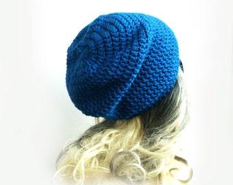 Blue Beanie Slouchy Beanie Sapphire Blue Crochet Slouch Hat Baggy hat Womens Mens Girl fall fashion back to school