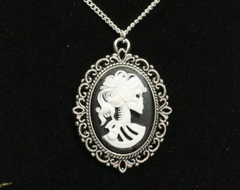 Day of the dead 20mm Lolita skull cameo necklace