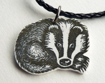 Badger Necklace - badger jewelry, European badger