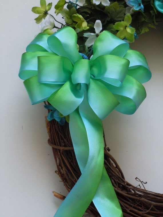 Blue Green Bow Ombre Wedding Pew Bow Teal Aqua Green Spring wreath Bow Bridal Shower Bow Ombre Birthday Party Decor Ombre Shower Party Decor
