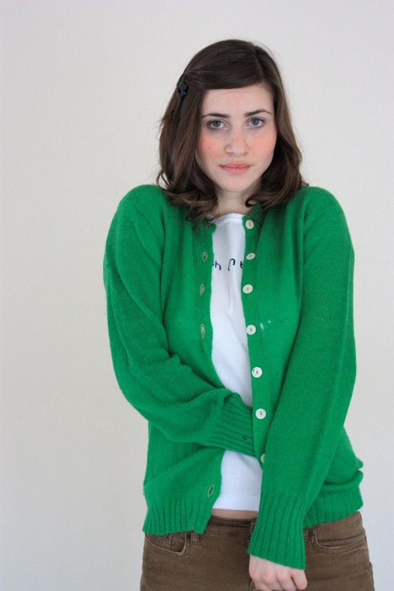 Vintage Unisex Mademoiselle Kelly Green Cardigan Sweater