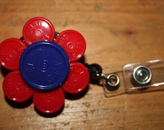 Upcycled/Recycled Retractable Flower ID Badge Holder Made From Flip Off Caps From Medication Vials-Rn, Lpn, Cna, Work Id
