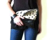 Foldover clutch purse, Hand stamped , Canvas and leather, Geometry, Triangles