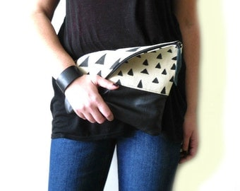 Geomeric print clutch bag, Fold over clutch, Canvas and leather, Triangles