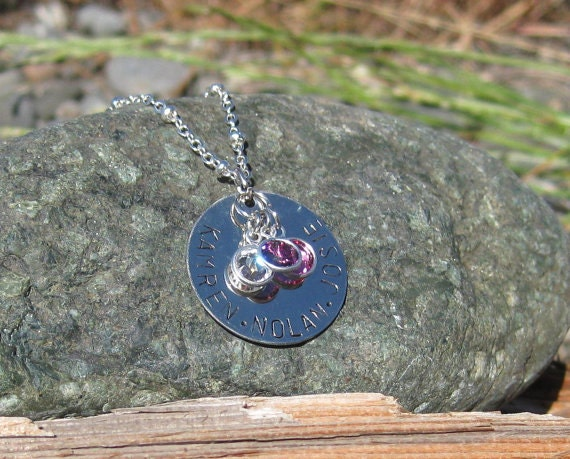Hand Stamped Mom or Grandma Necklace with Birthstones - Personalized Mother Grandmother Jewelry
