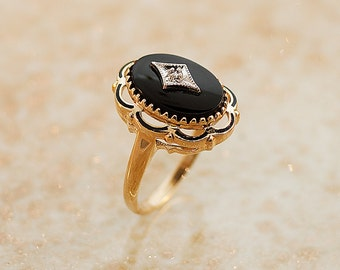 Antique Ring - Antique 1920s Black Onyx and Diamond Ring
