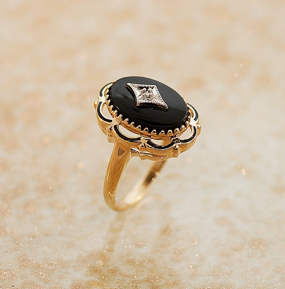 antique ring antique 1920s black onyx and ring