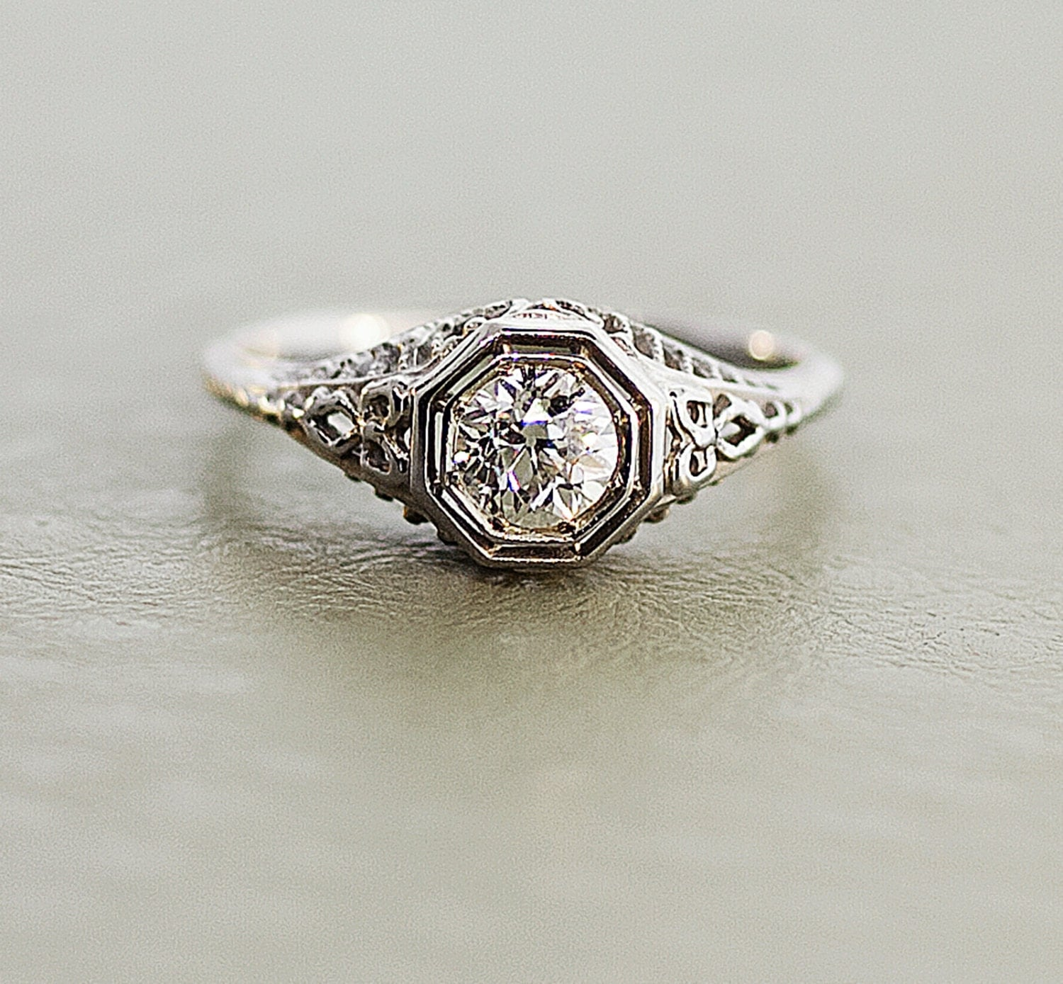 Antique Diamond Ring Edwardian 18k White Gold by TheCopperCanary