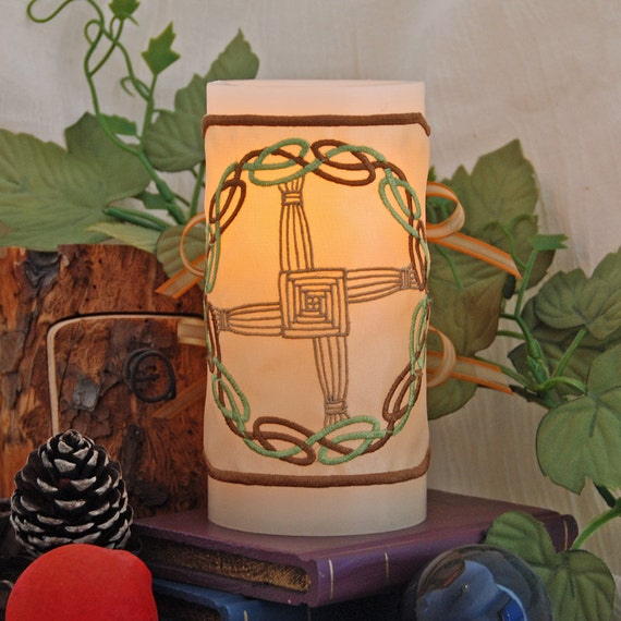 A Warm Light and Protection for Your Home with The Celtic Knot Brigid's Cross Candle Wrap For LED Flameless Pillar Candles.
