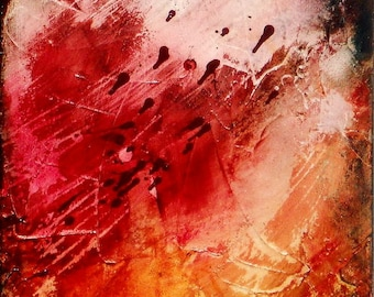SALE Contemporary Abstract Acrylic Painting on Canvas, Mixed Medium, Modern, Textured, Titled:  Urban Decay 4, 12 x 24