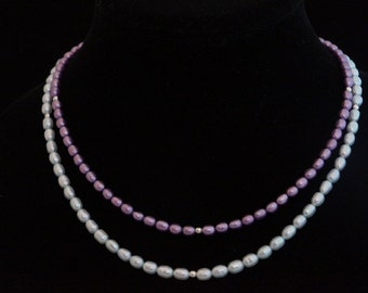 Double Stranded Purple and Teal Freshwater Pearl Necklace