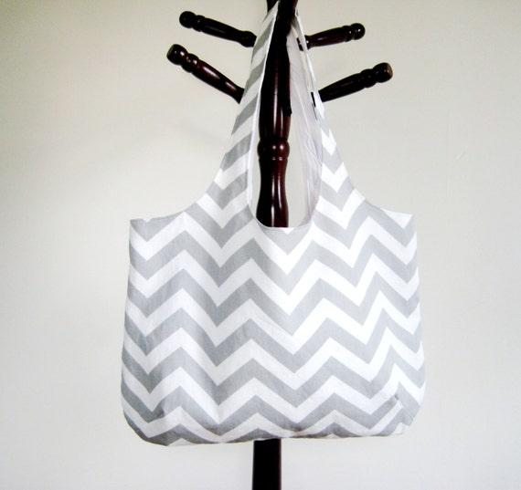 Gray Chevron Tote, Chevron Beach Bag, Grey and White Chevron, Back to School Bag, Made to Order
