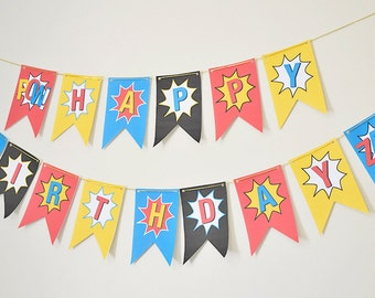 Superhero Banner // INSTANT DOWNLOAD // Printable // DIY // Birthday Banner // Party