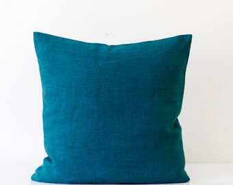 Teal blue pillow cover - classic style decorative pillows case - peackock solid  throw pillows   0200