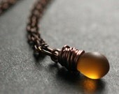 Copper Necklace. Frosted Amber Teardrop Necklace. Solitaire Necklace. Bridesmaid Necklace. Handmade Jewelry.