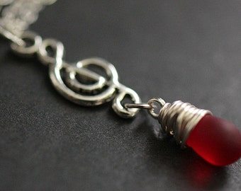 Musical Note Necklace. Treble Clef Necklace. Frosted Red Teardrop Necklace. Music Necklace in Silver. Handmade Jewelry.