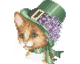 Counted Cross Stitch Pattern PDF - Cats in Hats Patrick - Pamela Kellogg