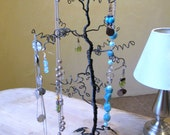 """Jewelry Tree Wire Stand Display Earrings and Necklace Organizer - Tropical Branch Tree 16"""" - MADE TO ORDER"""