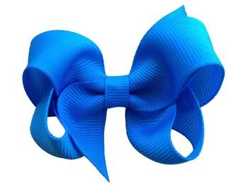 Island blue hair bow - 3 inch blue bow