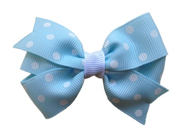 Light blue polka dot hair bow - blue hair bow, toddler bow, 3 inch blue bow, girls hair bows, girls bows, blue bows, baby bows, hair clips