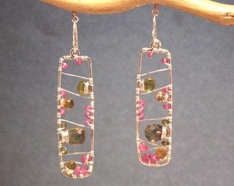 Hammered drop earrings pink ruby, citrine, vessonite Bohemian 27