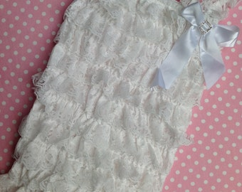 White Petti Lace Ruffle Romper w Rhinestone Embellishment,  Infant Baby Toddler Birthday Outfit