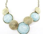 Gorgeous Gold-tone Powder Blue Round Stone Funky Statement Necklace