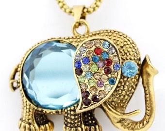 Gold-tone Blue Crystal Cute Elephant NECKLACE