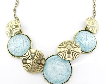 Gorgeous Gold-tone Powder Blue Round Stone Funky Statement Necklace