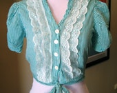 Vintage 1950s Green Striped Blouse with Tie