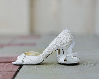 Ivory Wedding Shoes - Ivory Bridal Shoes, Ivory Heels,Bride,Bridal Heels,Wedding Heels,Low Heels,Ivory Bridal Peep-toe Shoes with Ivory Lace