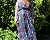Vintage 1970s Blue and Purple Gown with Sheer Black Overlay and Ribbon Belt Size M