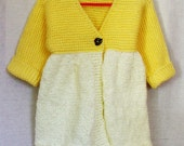 Baby Girl Sweater - Two-tone Yellow Cardigan with Single Button - Size 2T - SilverMapleKnits