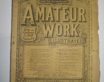 Unique Antique Vintage Victorian DIY Magazine AMATEUR WORK ILLuStRaTeD May 1886 with Project Blueprint