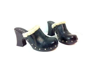 Platform Leather Clogs 8 / Black High Heel Hippie Clogs 8