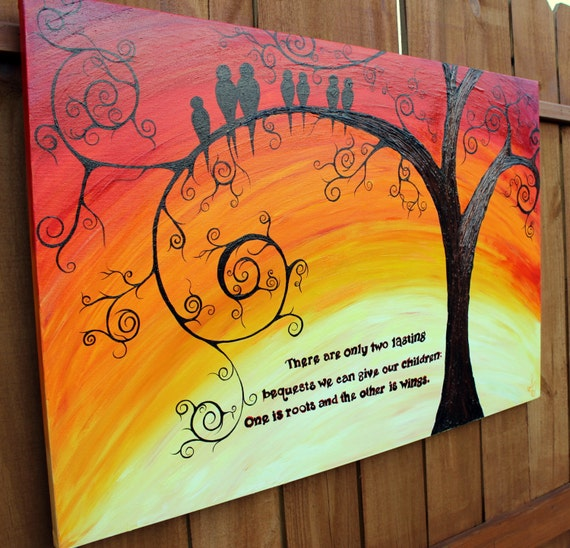 Cute Quotes On Canvas: Family Of Birds: 24 By 36 Abstract Acrylic Tree