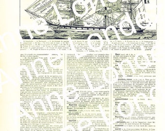1922 Vintage ship poster Navy art Vintage flags poster Flags signal print navy decor boating decor French wall art dictionary page
